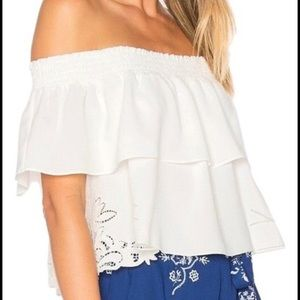 Lace side panel over the shoulder crop top NWOT